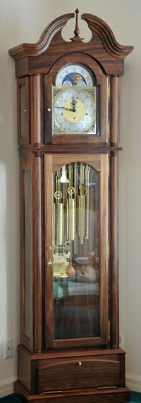 Grandfather Clock Designed And Built In Walnut By Bob